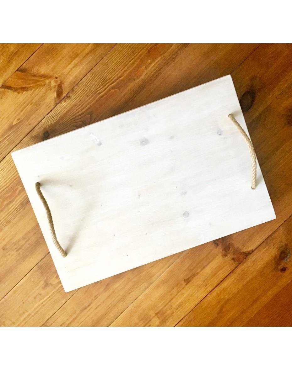 Podnos z dreva  na nožkách 60x40x7 - biely
