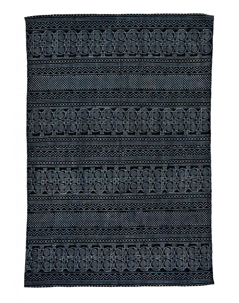 Čierno-biely bavlnený koberec 120x180