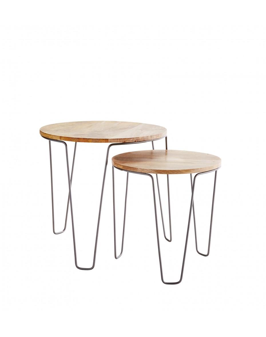 Drevené stolíky v kovovom ráme - sada