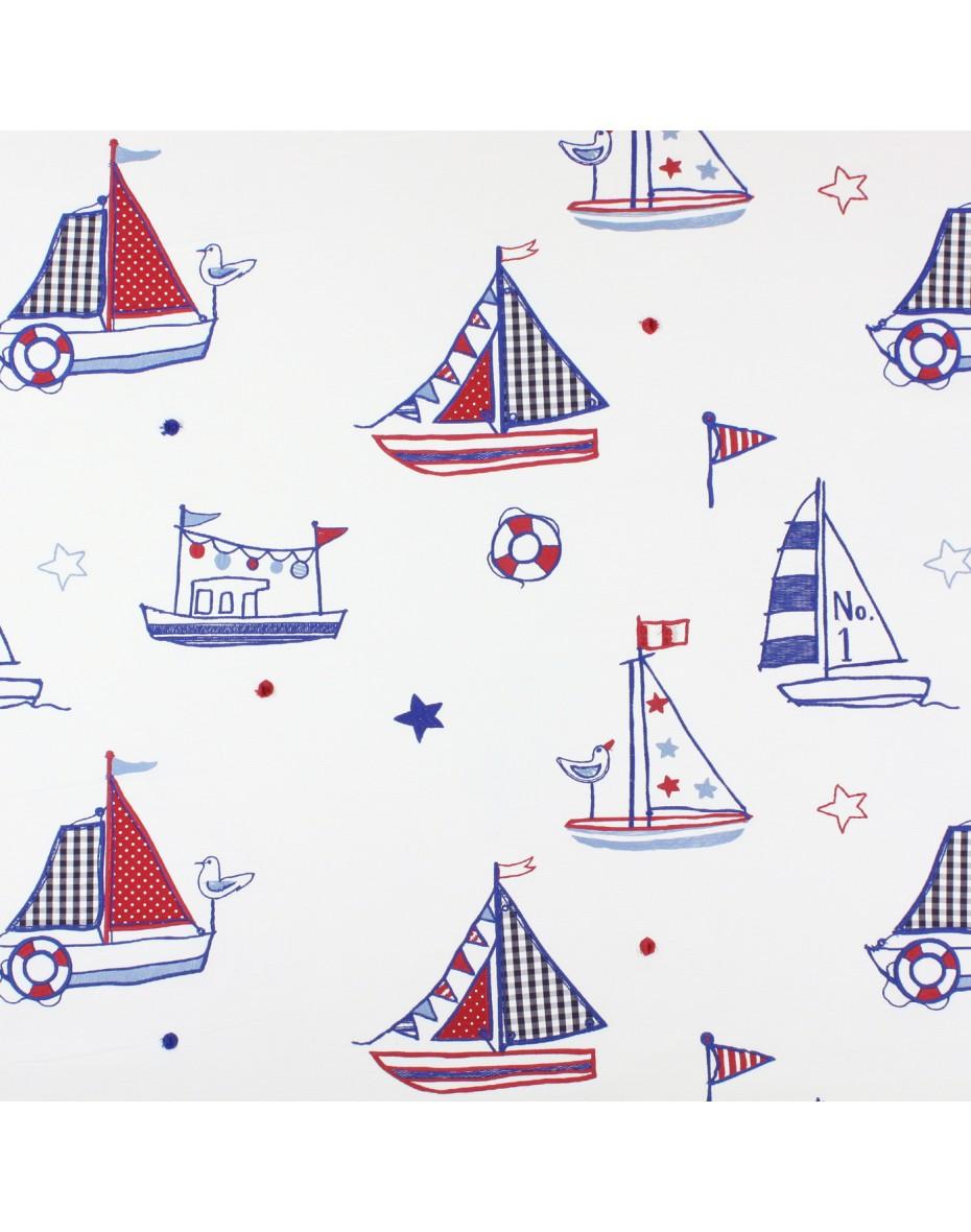 Látka pre deti vyšívané loďky, regáty