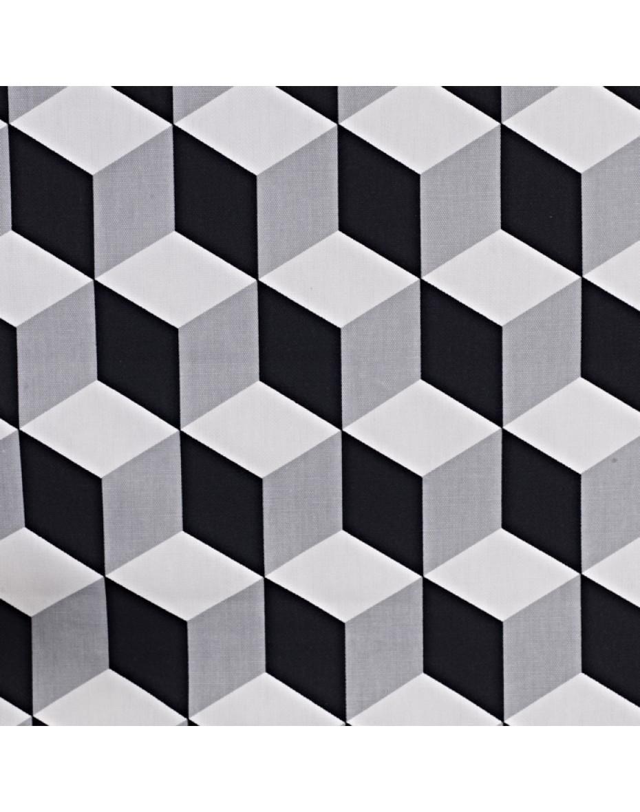 Látka Cube - Jet s grafickým vzorom