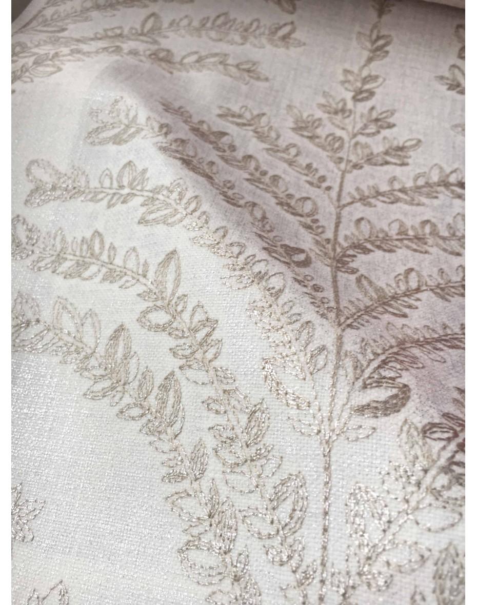 Látka Celestia Oyster - krémová so zlatou výšivkou