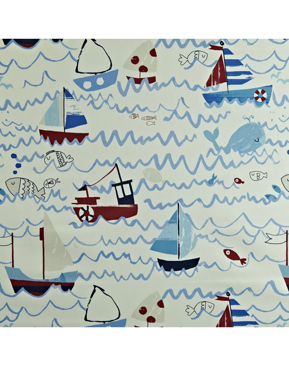Detská bavlna látka loďky Waves - Marine