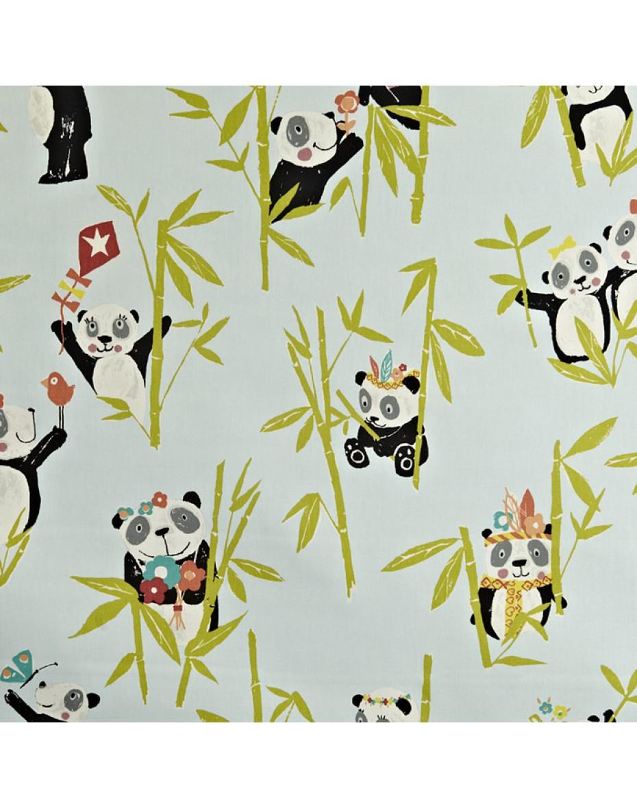 Detská bavlna látka  Panda - Aqua