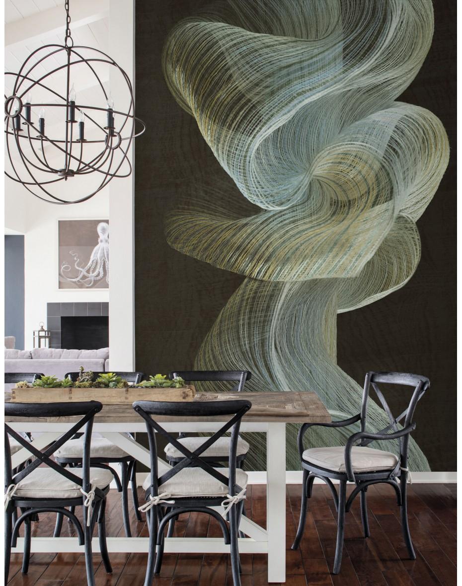Tapetový panel Twisted Rainbow ABD31 - čierna/zelená