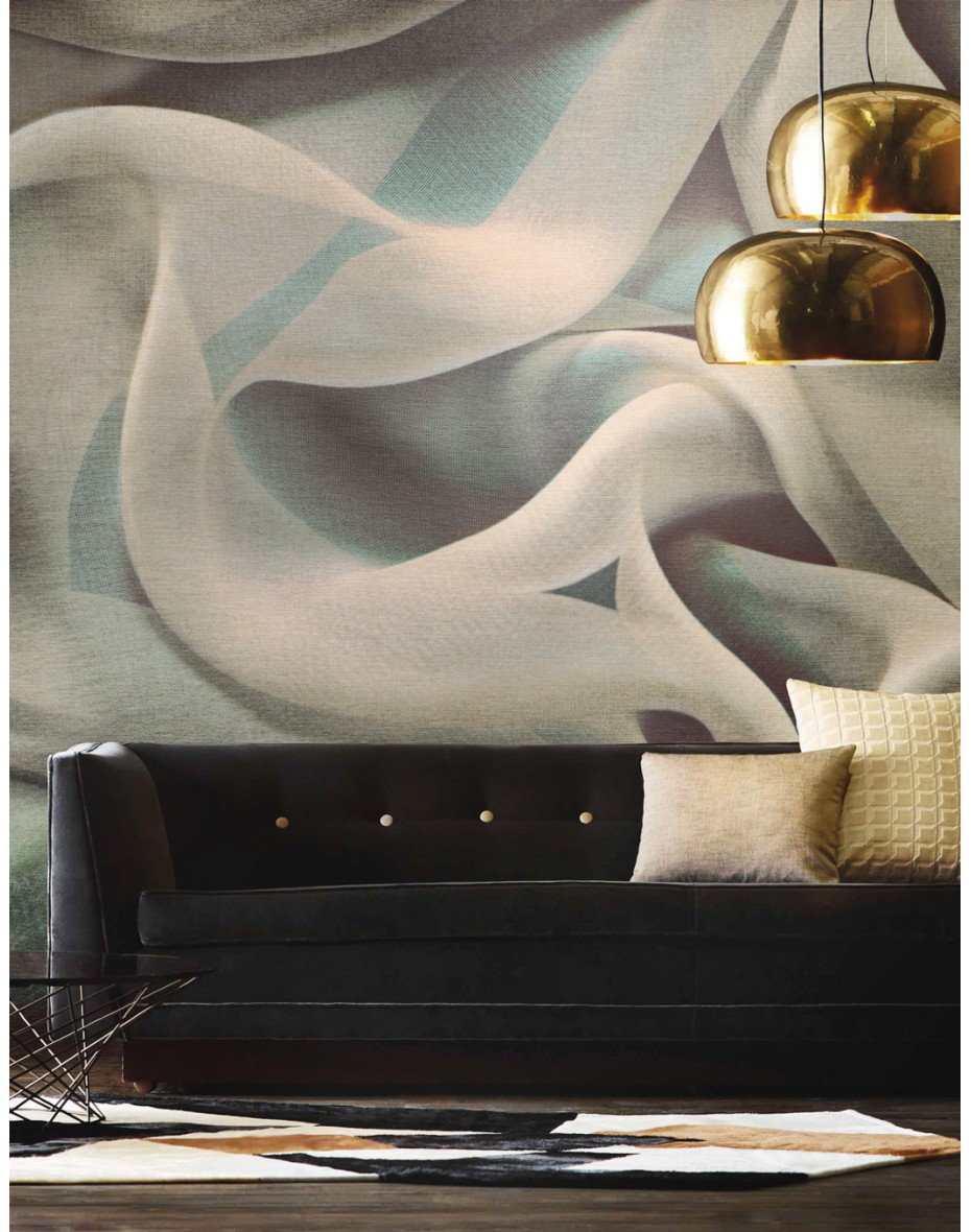 Tapetový panel Drapery ABD63 - hnedá s odtieňmi tyrkysovej a fialovej