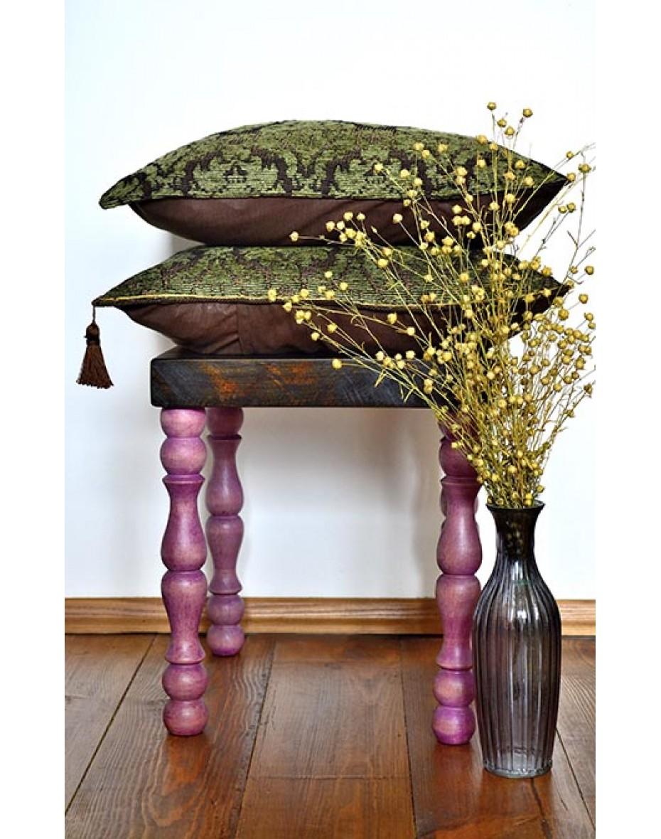 Stolík - hnedo/ružový 30x30x34